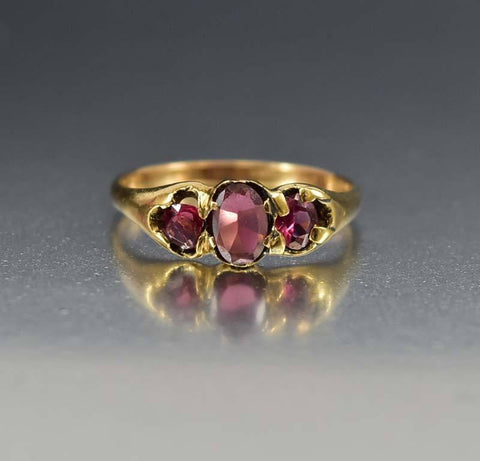 Antique Amethyst 18K Gold Victorian Wedding Ring