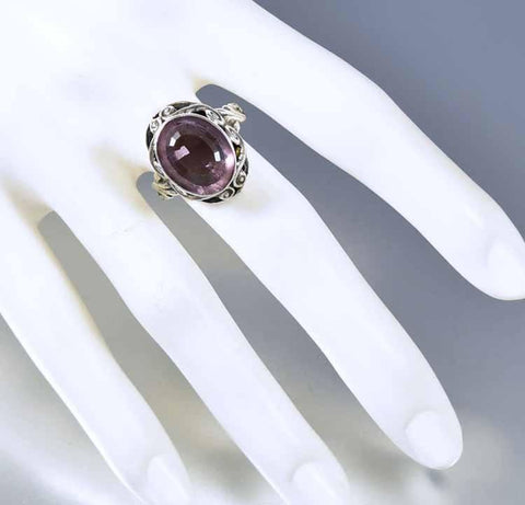 Vintage Arts & Crafts Sterling Silver Amethyst Ring