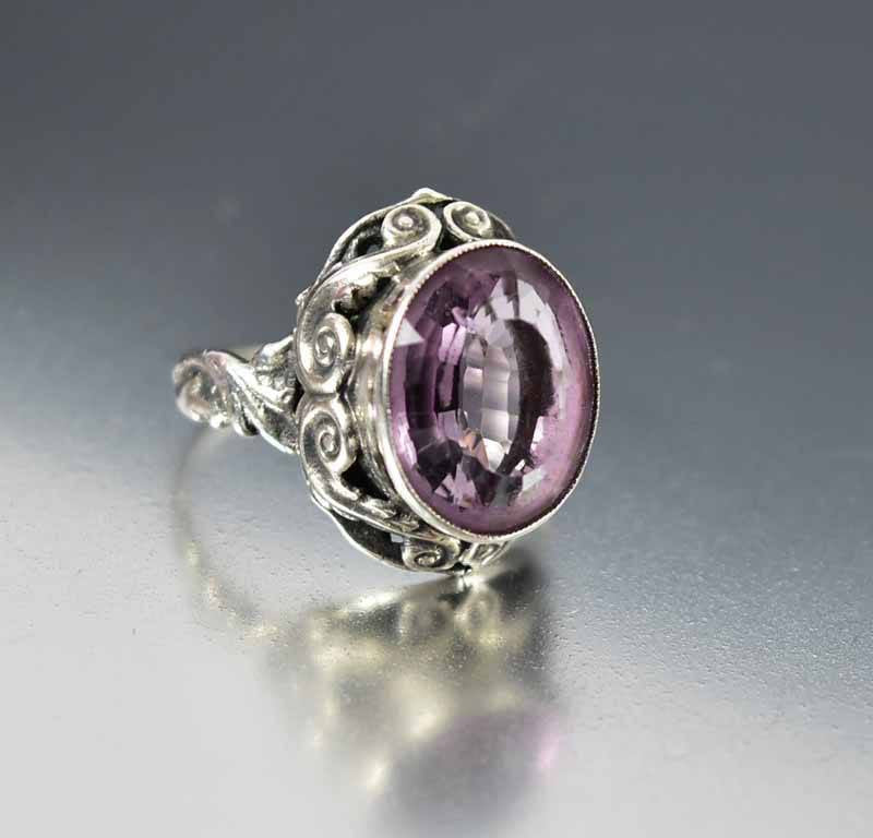 Vintage Arts & Crafts Sterling Silver Amethyst Ring - Boylerpf