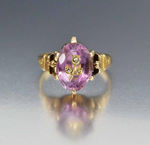 Intaglio Rose of Sharon Amethyst Diamond Ring