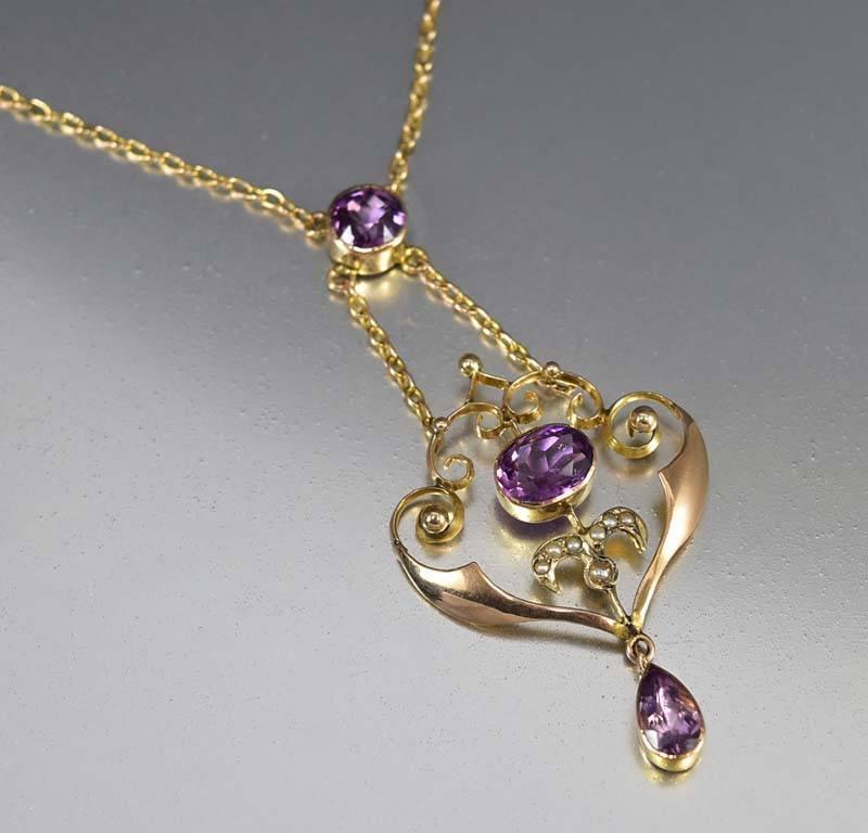 Rose Gold Amethyst Pearl Antique Edwardian Necklace - Boylerpf