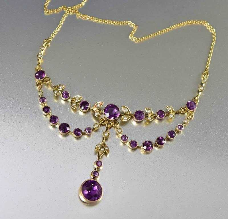 Antique Edwardian Gold Pearl Amethyst Necklace - Boylerpf