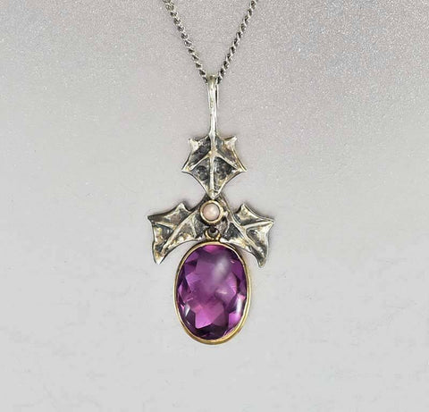 10K Gold Art Nouveau Pearl Amethyst Pendant Necklace