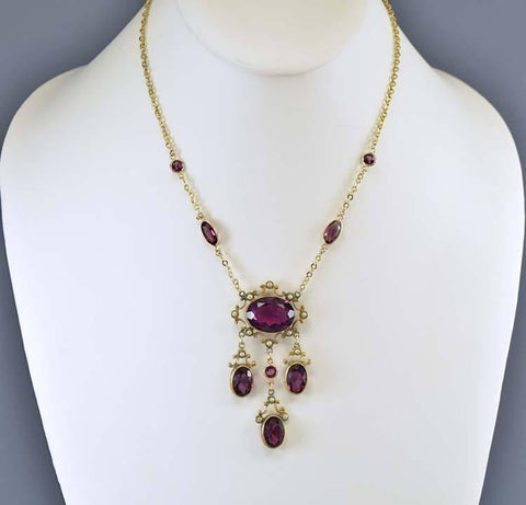 Edwardian Gold Pearl Amethyst Paste Pendant Necklace