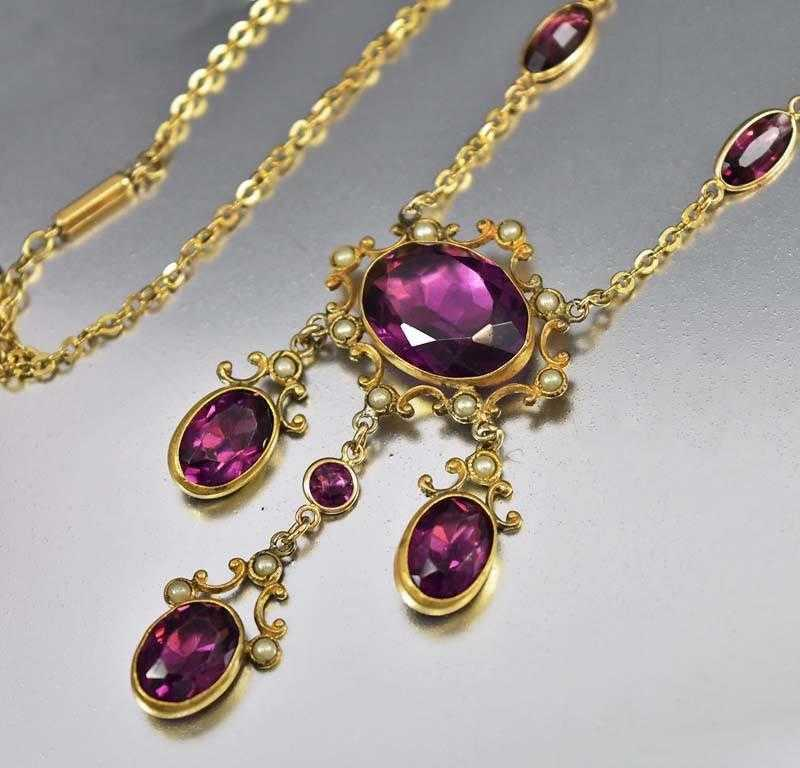 Edwardian Gold Pearl Amethyst Paste Pendant Necklace - Boylerpf