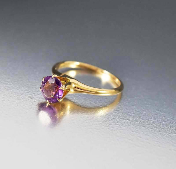 amethyst wedding ring vintage gold amethyst solitaire engagement ring boylerpf 1294