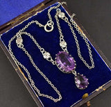 Antique 10 Carat Amethyst Edwardian Lavalier Necklace - Boylerpf