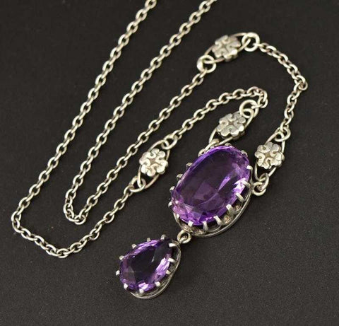 Antique 10 Carat Amethyst Edwardian Lavalier Necklace