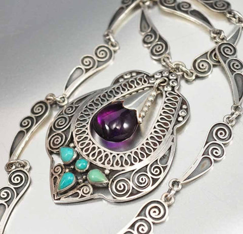 Amethyst Turquoise Taxco Silver Necklace
