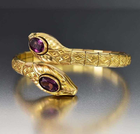 Art Deco Double Snake Head Amethyst Bracelet C 1920