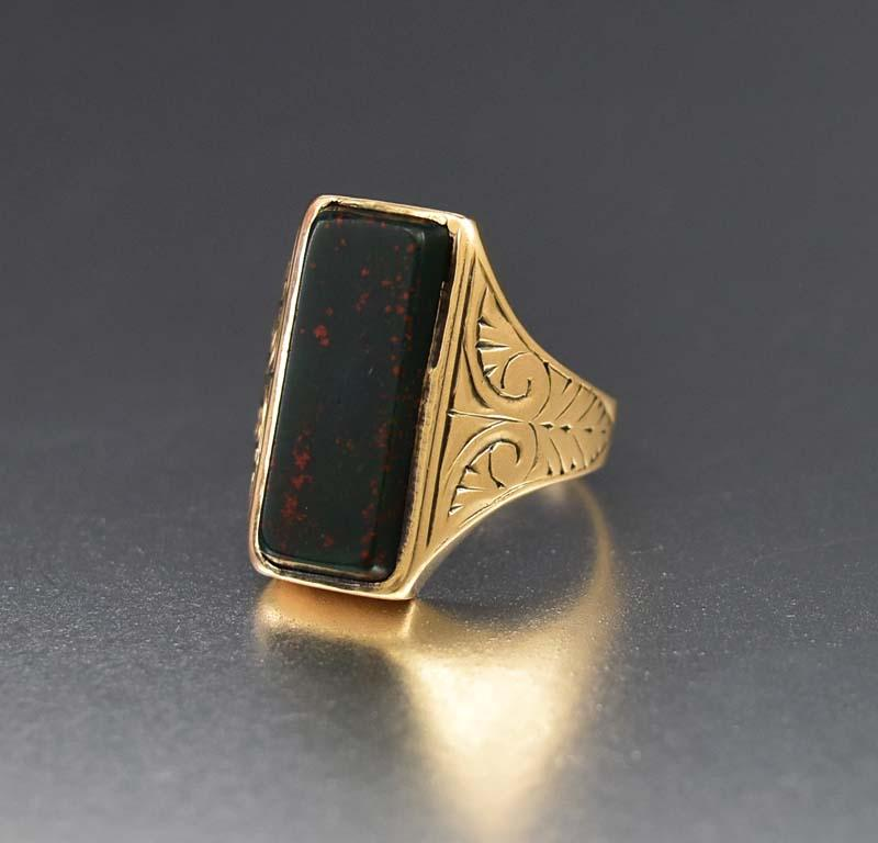 Bold Antique Gold and Bloodstone Ring, C 1890s - Boylerpf