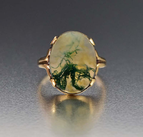 Fine Gold Dendritic Moss Agate Picture Ring