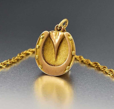 Sensational Antique Solid Gold Horse Shoe Locket Pendant