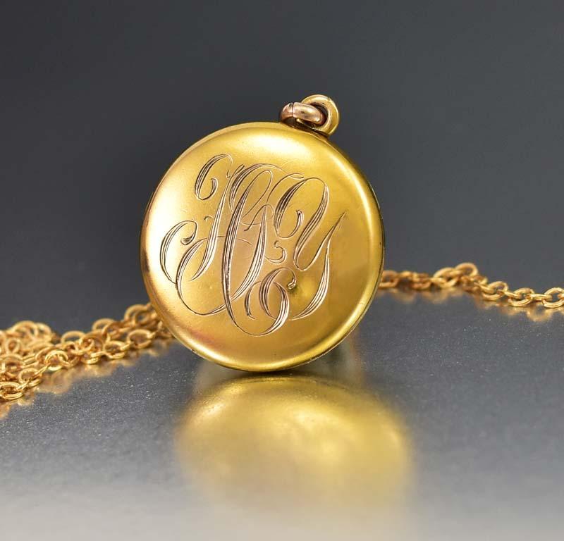 Charming Edwardian Gold Filled Initial Locket Necklace - Boylerpf