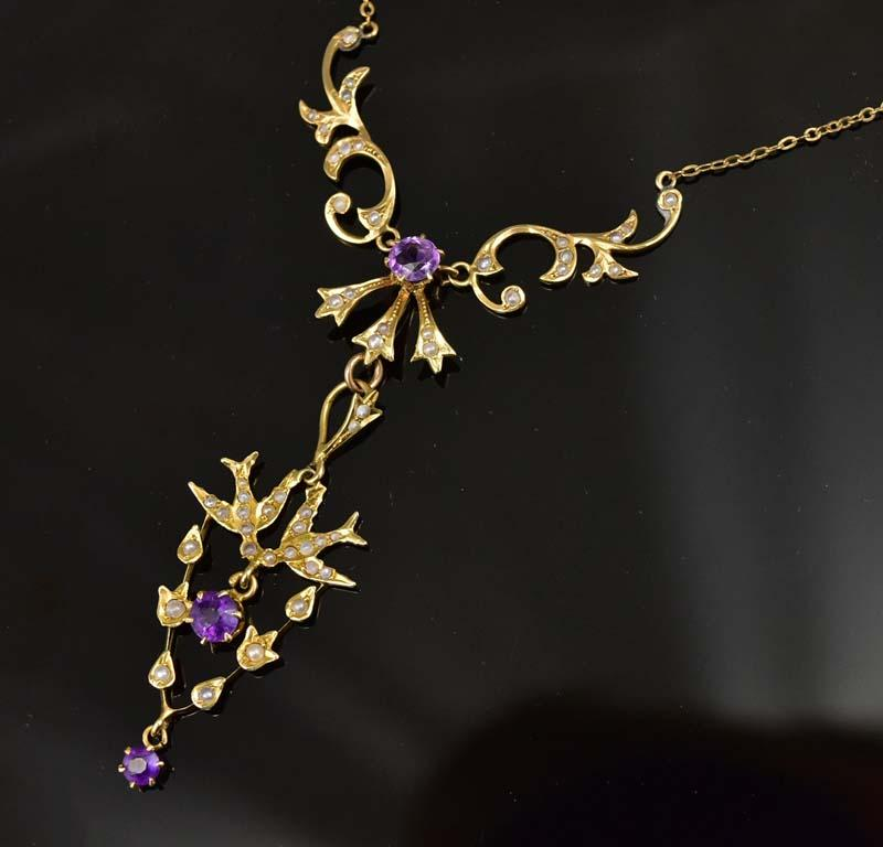 Antique 14K Gold Pearl and Amethyst Necklace 1800 - Boylerpf
