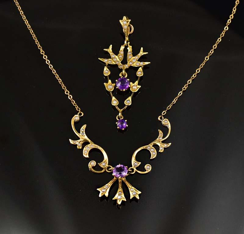 14K Gold Pearl and Amethyst Necklace, Day to Night - Boylerpf