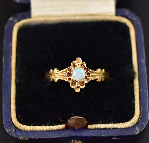 Antique Edwardian Fine 14K Gold and Opal Ring
