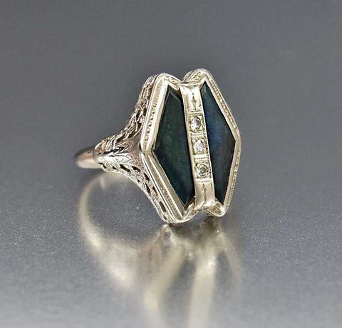 Antique Edwardian 14K White Gold Quartz Diamond Ring