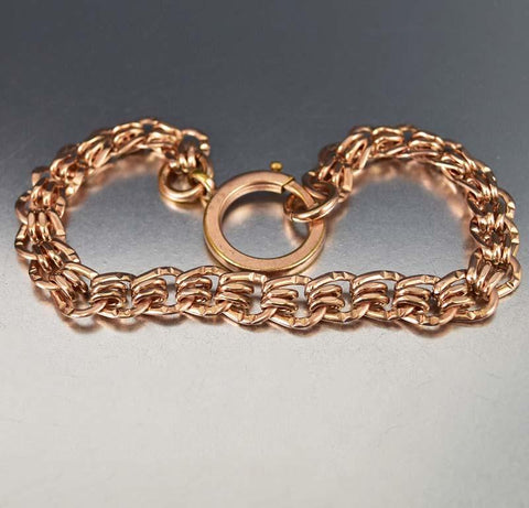 Antique 18K Rolled Rose Gold Watch Chain Bracelet