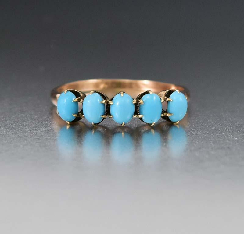 Vintage Yellow Gold & Turquoise Five Stone Ring - Boylerpf