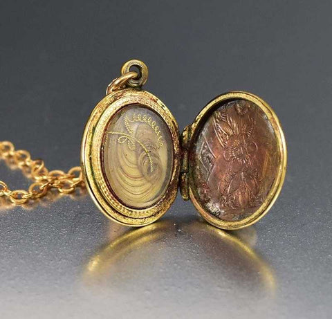 Charming Enamel and Gold Victorian Locket Necklace