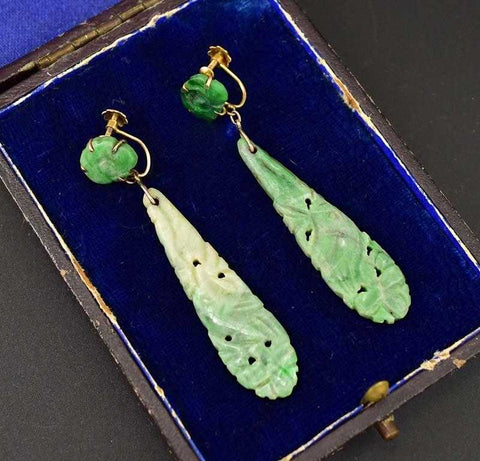 Superior Gold Carved Jade Art Deco Earrings