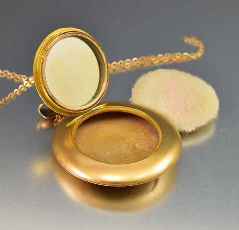 Large Gold Edwardian Locket Mirror Compact Necklace