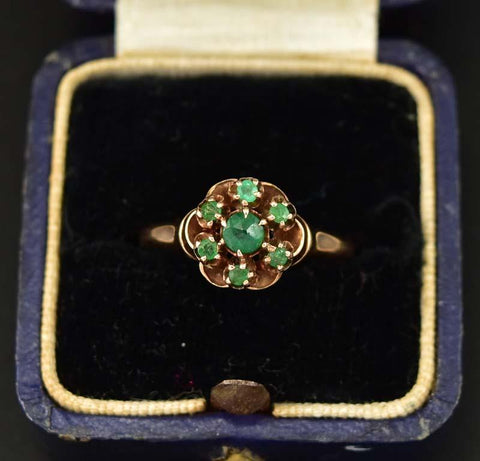 Antique Victorian Beautiful Gold and Emerald Cluster Ring