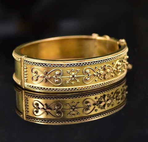 Victorian 18K Gold Cuff Floral Heart Bangle Bracelet