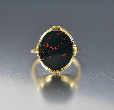 Vintage Art Deco Gold Bloodstone Ring