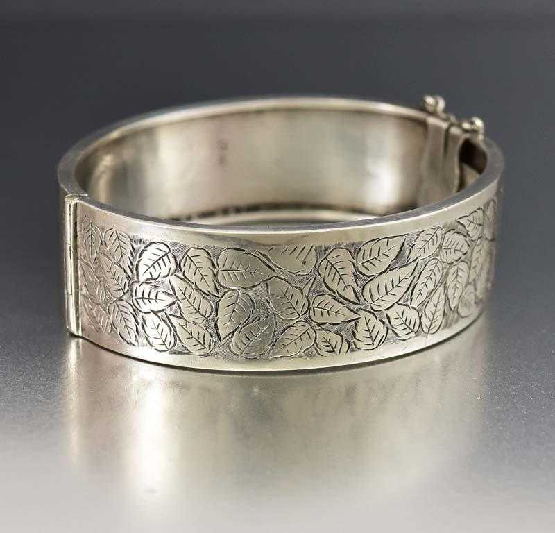 Superb Antique Victorian Ivy Engraved Cuff Bracelet - Boylerpf