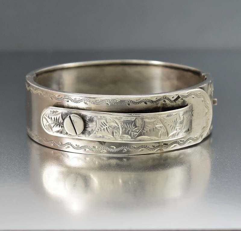 Outstanding Antique Silver Engraved Cuff Bangle Bracelet - Boylerpf