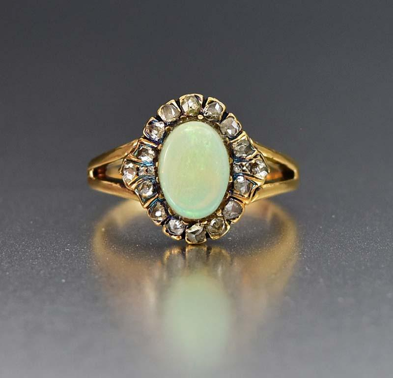 Antique Edwardian Gold Opal and Diamond Halo Ring - Boylerpf