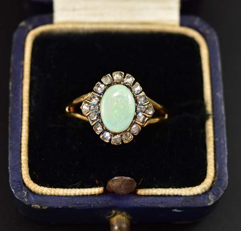 Antique Edwardian Gold Opal and Diamond Halo Ring