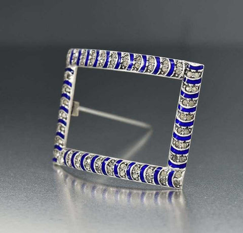 Antique Silver Enamel Diamond Paste Buckle Brooch