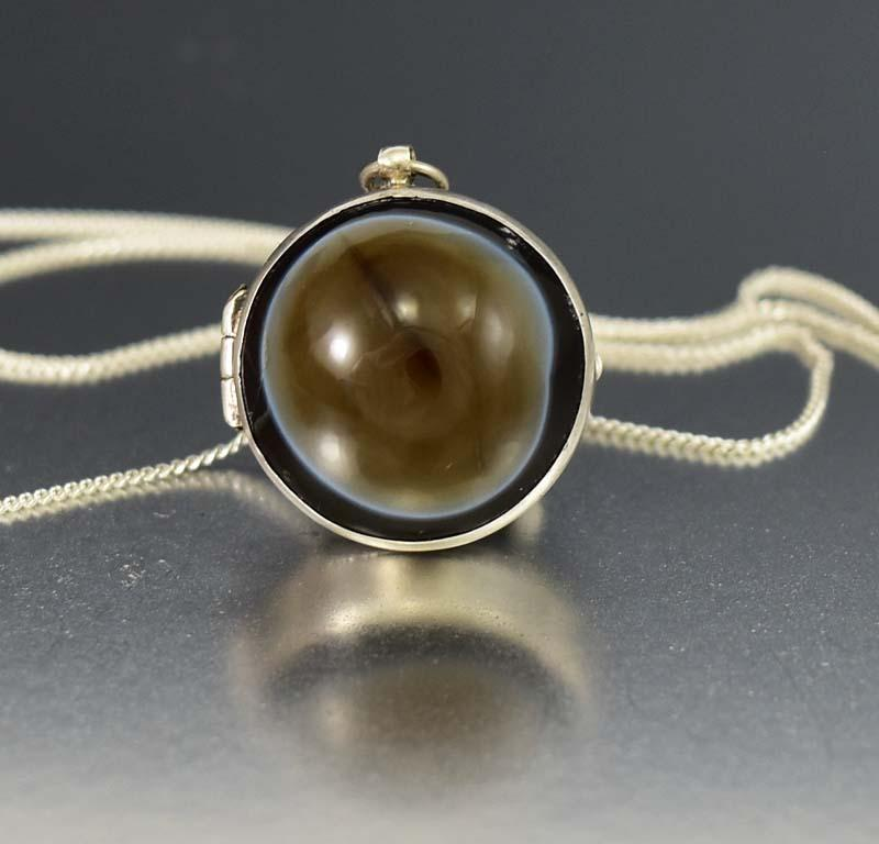 Antique Silver Banded Agate Ball Locket Necklace - Boylerpf