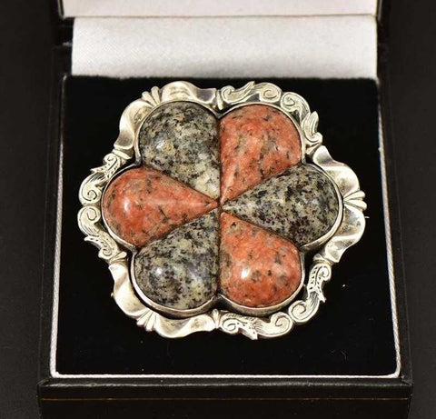 Superb Antique Scottish Agate Granite Brooch