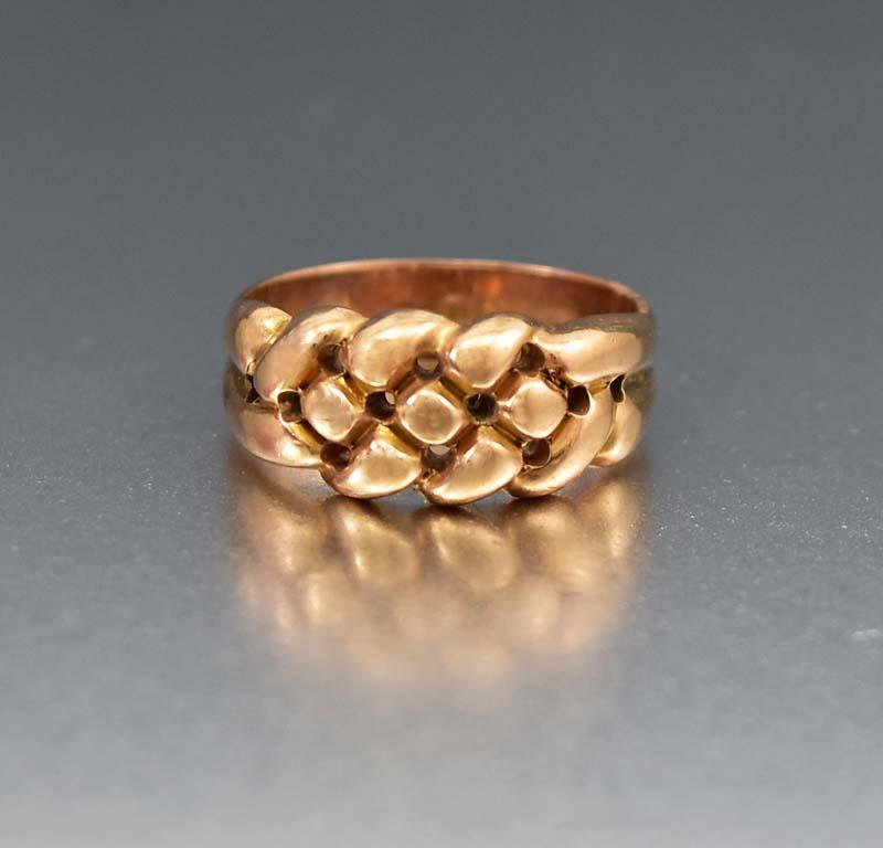 Antique Love Knot Rose Gold Keeper Ring - Boylerpf