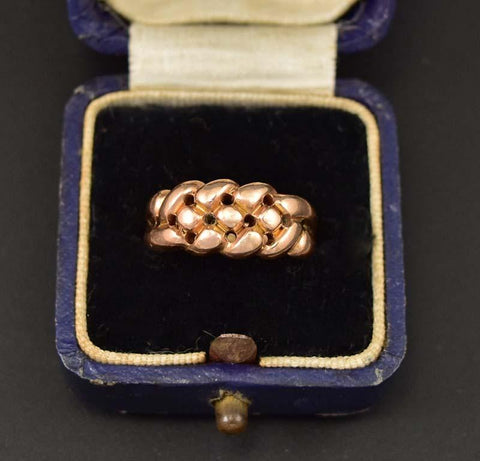 Antique Love Knot Rose Gold Keeper Ring