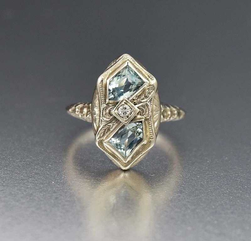 Fine Art Deco 14K White Gold Aquamarine and Diamond Ring - Boylerpf