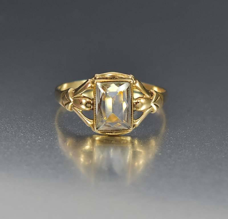 Art Deco Gold Aquamarine Ring Antique Engagement - Boylerpf