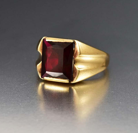 Vintage Victorian Style Five Stone Garnet Band Ring