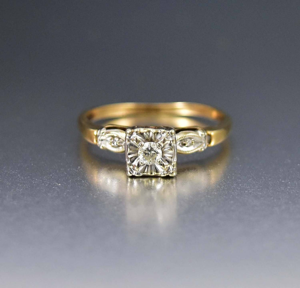 14K Yellow & White Gold  Diamond Solitaire Illusion Ring