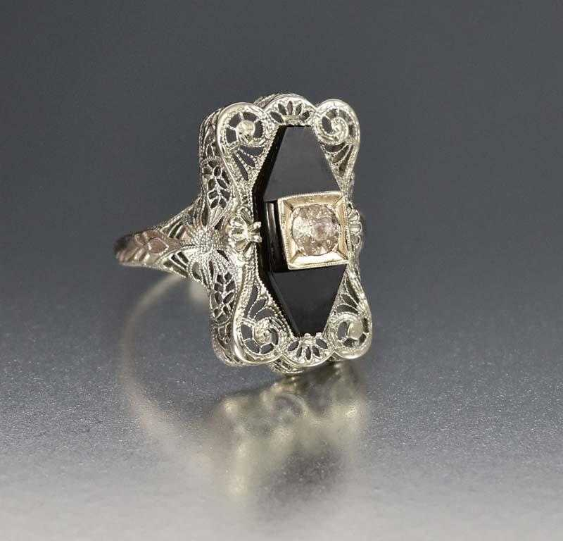 Art Deco 14K White Gold Filigree Black Onyx Diamond Ring - Boylerpf