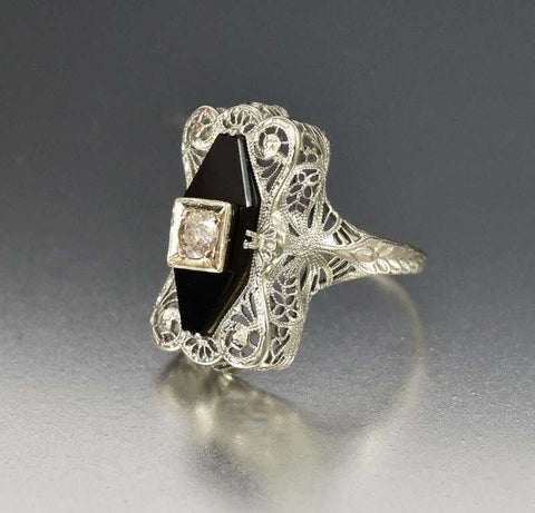 Art Deco 14K White Gold Filigree Black Onyx Diamond Ring
