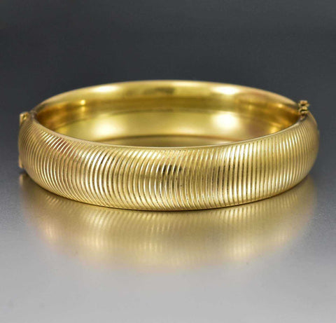 Gold Filled Buttercup Engraved Art Deco Bangle Bracelet
