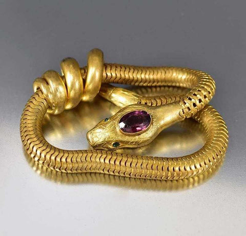 Art Deco Amethyst & Emerald Paste Gold Snake Bracelet