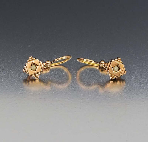 Antique 1900s Smoky Quartz Marcasite Earrings