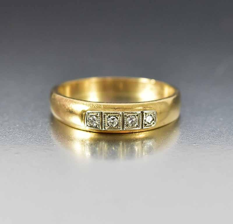 Vintage Art Deco Gold Diamond Wedding Band Ring - Boylerpf