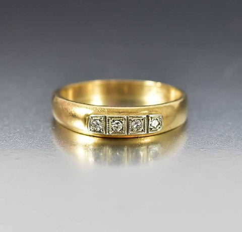 Vintage Art Deco Gold Diamond Wedding Band Ring